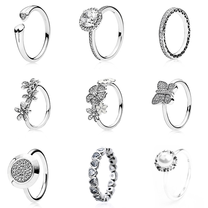 9 Style 925 Silver Ring Diy Round Full Crystal Surround Flower Diy Ring For  Women with 87fa7db32998