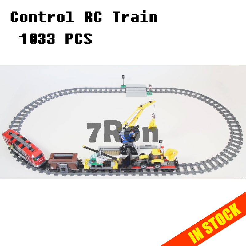 Models building toy 02009 1033pcs City Remote Control RC Train Building Blocks Compatible with lego 60098 toys & hobbies lepin 02009 city engineering remote control rc train model