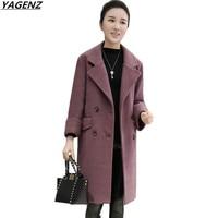 YAGENZ 2018 NEW Women S Winter Jackets Coats Elegant Women Woolen Coat Plus Size Comfortable Loose