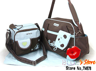 Free Shipping 5 Pcs Set Bear Carter Diaper Bag Sets Blue Heart Baby