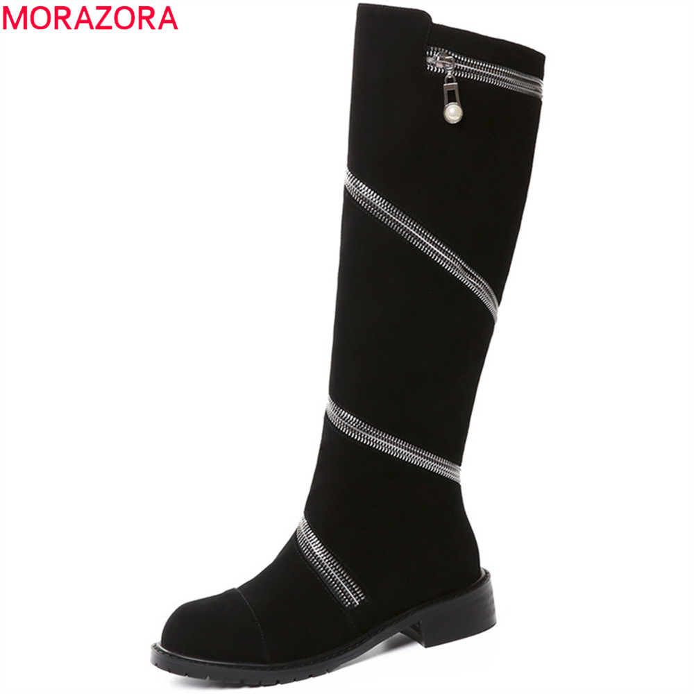 MORAZORA 2018 fashion winter new arrive women boots round toe zipper cow suede ladies boots square heel leather knee high boots memunia fashion women boots round toe genuine leather boots zipper square heel wool keep warm cow leather mid calf boots