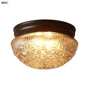 IWHD américain pays LED plafonniers pour salon couloir balcon verre abat-jour Vintage rétro plafonnier Plafondlamp