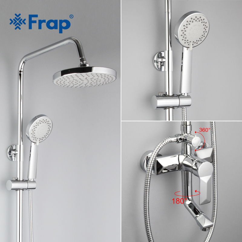 Frap 1 Set Bathroom Rainfall Shower Faucet Set Mixer Tap With Hand Sprayer Wall Mounted Bath Shower Sets Single Handle F2418