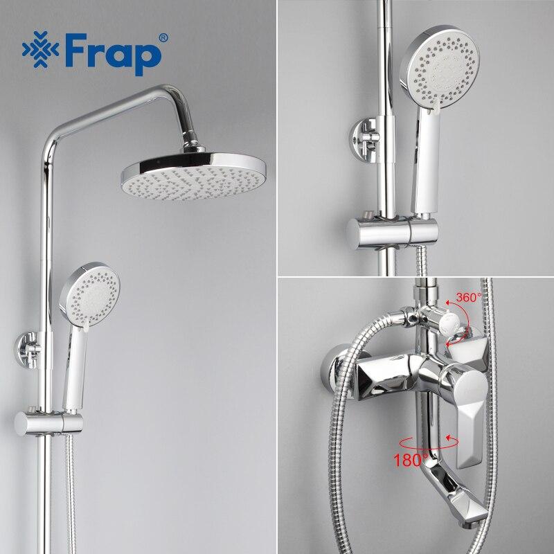 Frap 1 ensemble salle de bains pluie douche robinet ensemble mélangeur avec pulvérisateur à main mural bain douche ensembles poignée unique F2418