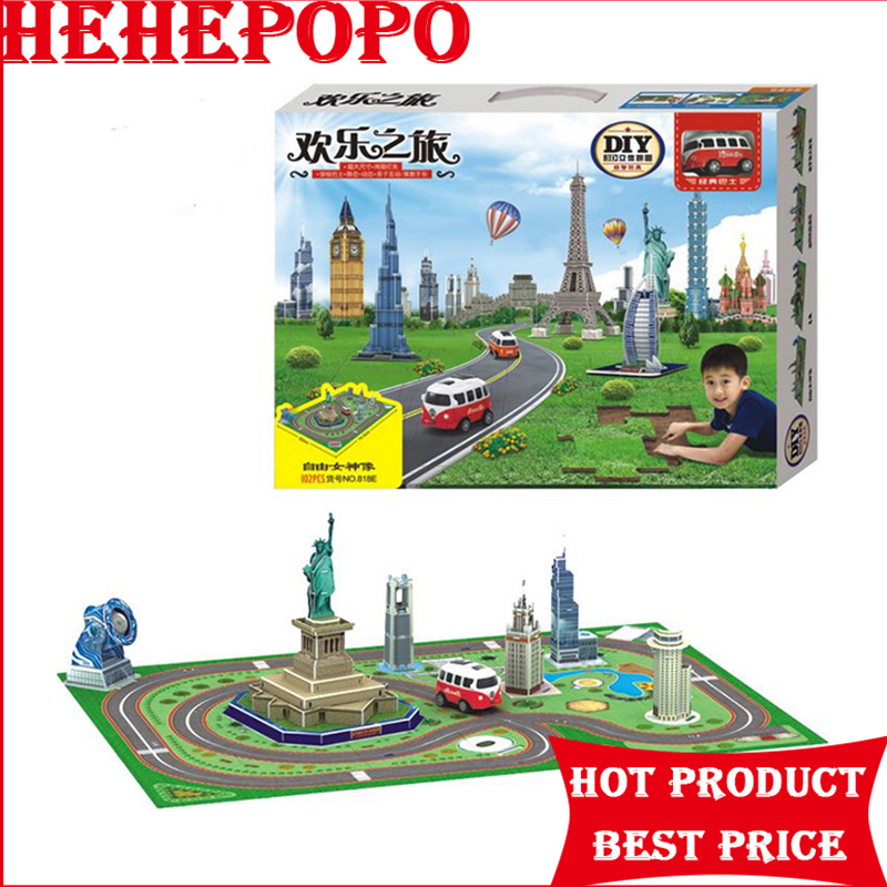 New Arrival 3D Stereo Jigsaw Puzzle Model Statue of Liberty Building Railcar DIY Electric Bus Track Children's Puzzle Toy Gift solar military transport plane baron p320 jigsaw puzzle building blocks environmental diy toy