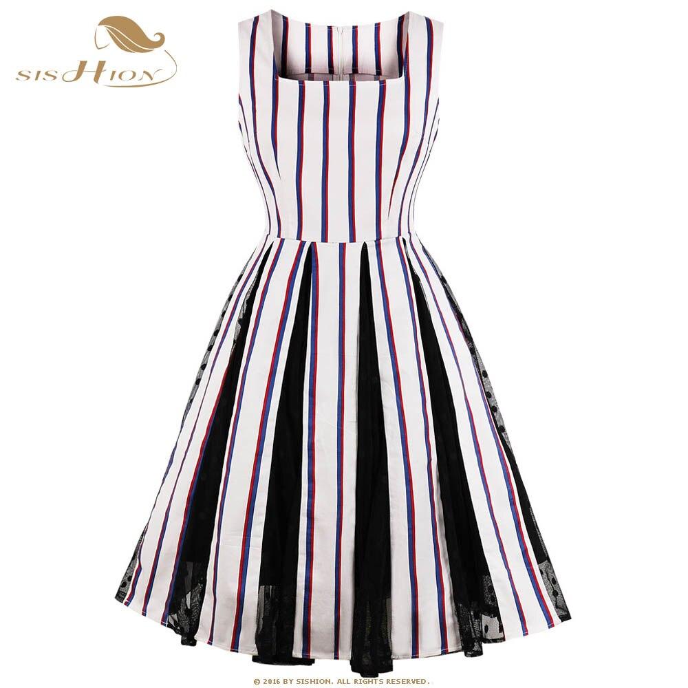 SISHION Striped Women Summer Dress Plus Size Cotton Mesh Patchwork Casual  50s 60s Retro Swing Vintage Dresses VD0721