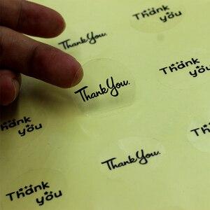 Etiquetas transparentes redondas de 100 Uds., autoadhesivas, autoadhesivas, pegatinas de PVC personalizadas, diseño de gracias