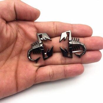 2 pçs/set 3D Scorpion Forma de Metal Emblema Emblema Autocolante Para Fiat Abarth VW Porta Do Carro Renault Fender Tronco Traseiro Decoração