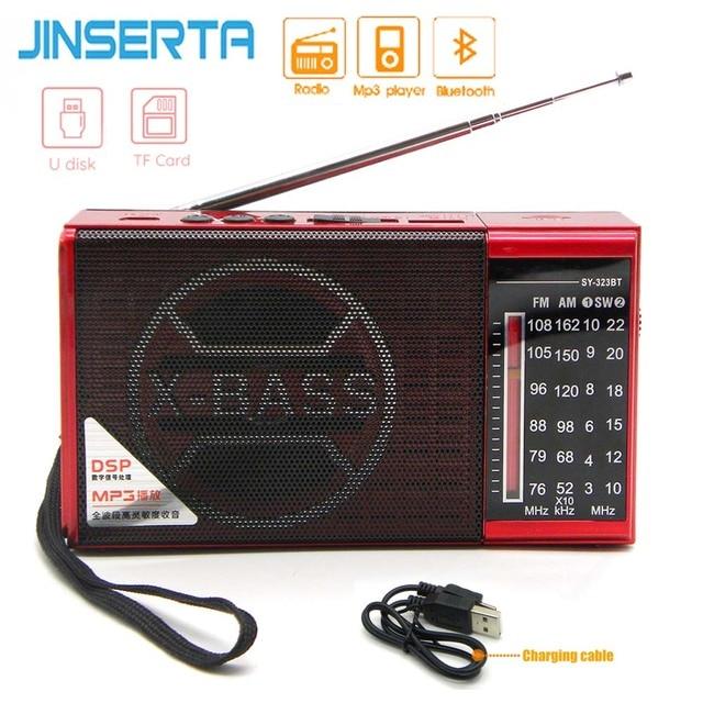 JINSERTA מיני FM AM SW רדיו מקלט אלחוטי Bluetooth רמקול תמיכת TF כרטיס U דיסק לשחק עם 3.5mm אוזניות שקע