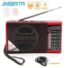 JINSERTA جهاز استقبال راديو FM AM SW صغير لاسلكي مزود بتقنية البلوتوث يدعم بطاقة TF قرص تشغيل U مع مقبس سماعة الرأس 3.5 مللي متر