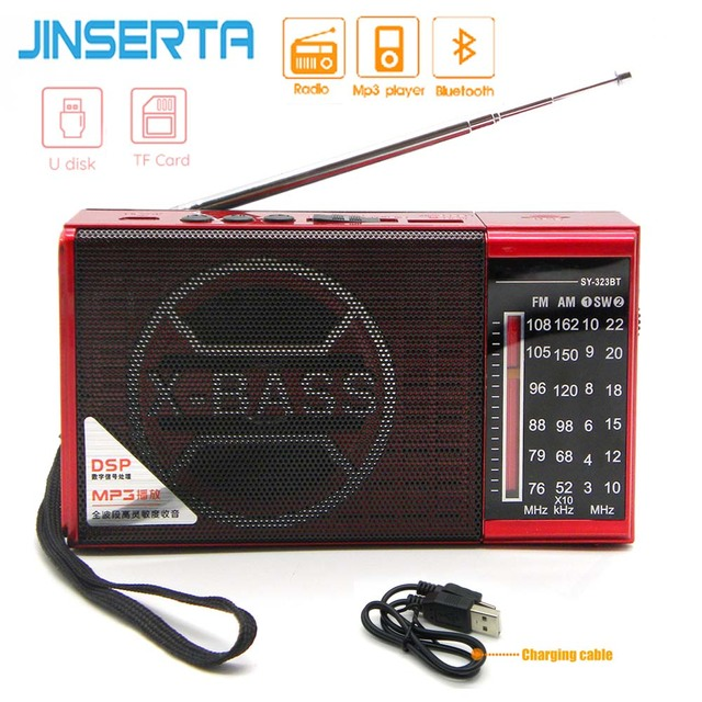 JINSERTA Mini FM AM SW Radio Receiver Wireless Bluetooth Speaker Support TF Card U Disk Play with 3.5mm Headphone Jack