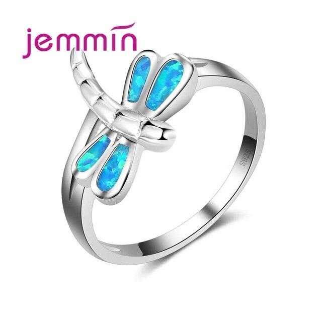 Khuyến Mãi mới Chuồn Chuồn Hình Nhẫn Nữ Bạc 925 Xanh Dương Fire Opal cho Nữ, Nhẫn Nữ Cưới Ngọt Ngào Hợp Thời Trang Sức cao cấp
