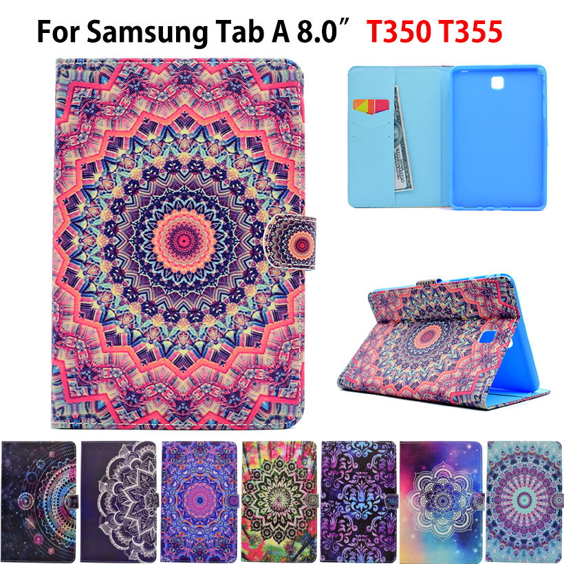 Fashion Painted Wake/Sleep Cover For Samsung Galaxy Tab A 8.0 SM-T355 T350 T355 P350 Case Funda Tablet PU Leather Stand Shell luxury tablet case cover for samsung galaxy tab a 8 0 t350 t355 sm t355 pu leather flip case wallet card stand cover with holder