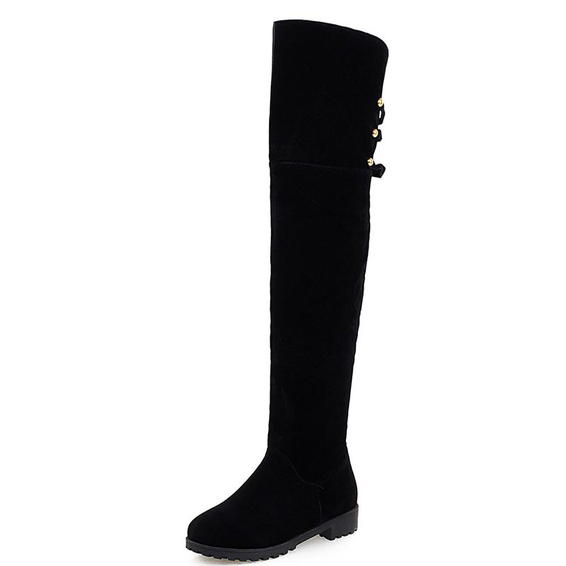 ФОТО 2016 New Arrival Winter Women's Snow Boots Casual Thicken Shoes Women Slip On Nubuck Leather Females Over The Knee Boots XD535