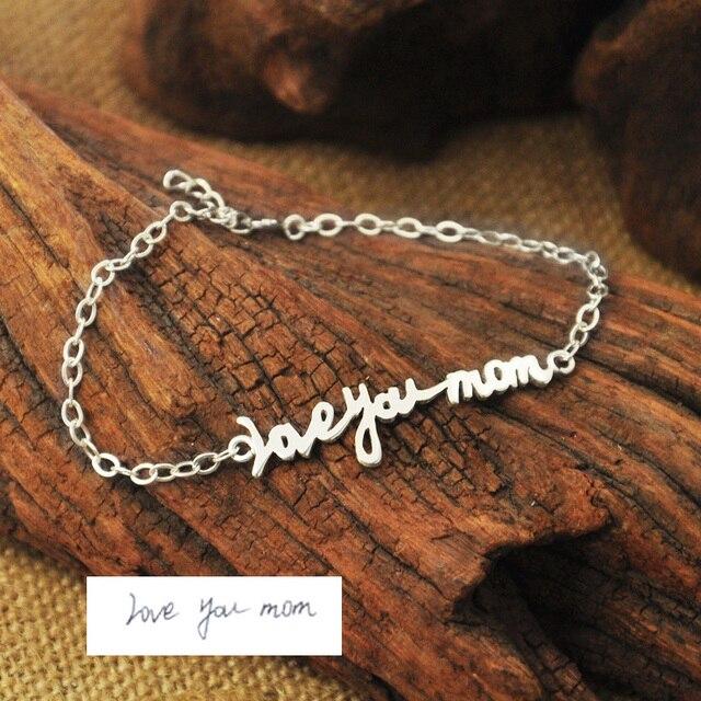 Assinatura Pulseira em Prata de lei, Assinatura personalizada Pulseira, caligrafia, Presente da dama de honra, Presente mãe