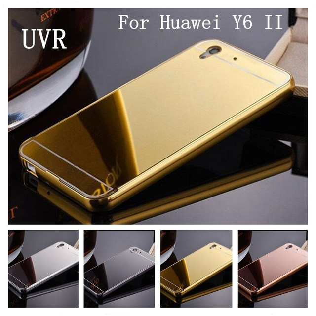 innovative design 13f34 b1286 US $4.99  UVR Luxury Rose Gold Mirror Case For Huawei Y6 2 Y6II Case Cover  For Huawei Y6 II Back Cover For Huawei Y6ii Phone Cases-in Fitted Cases ...