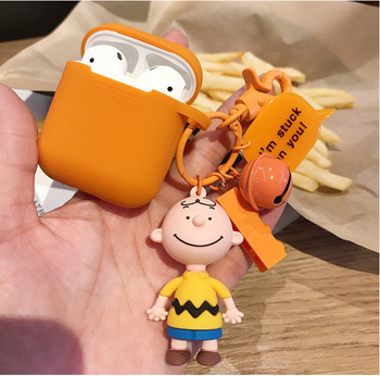 Super cute cartoon Charlie Brown and dog keychain Headphone Earphone Case For Apple Airpods Accessories cute silicone cover