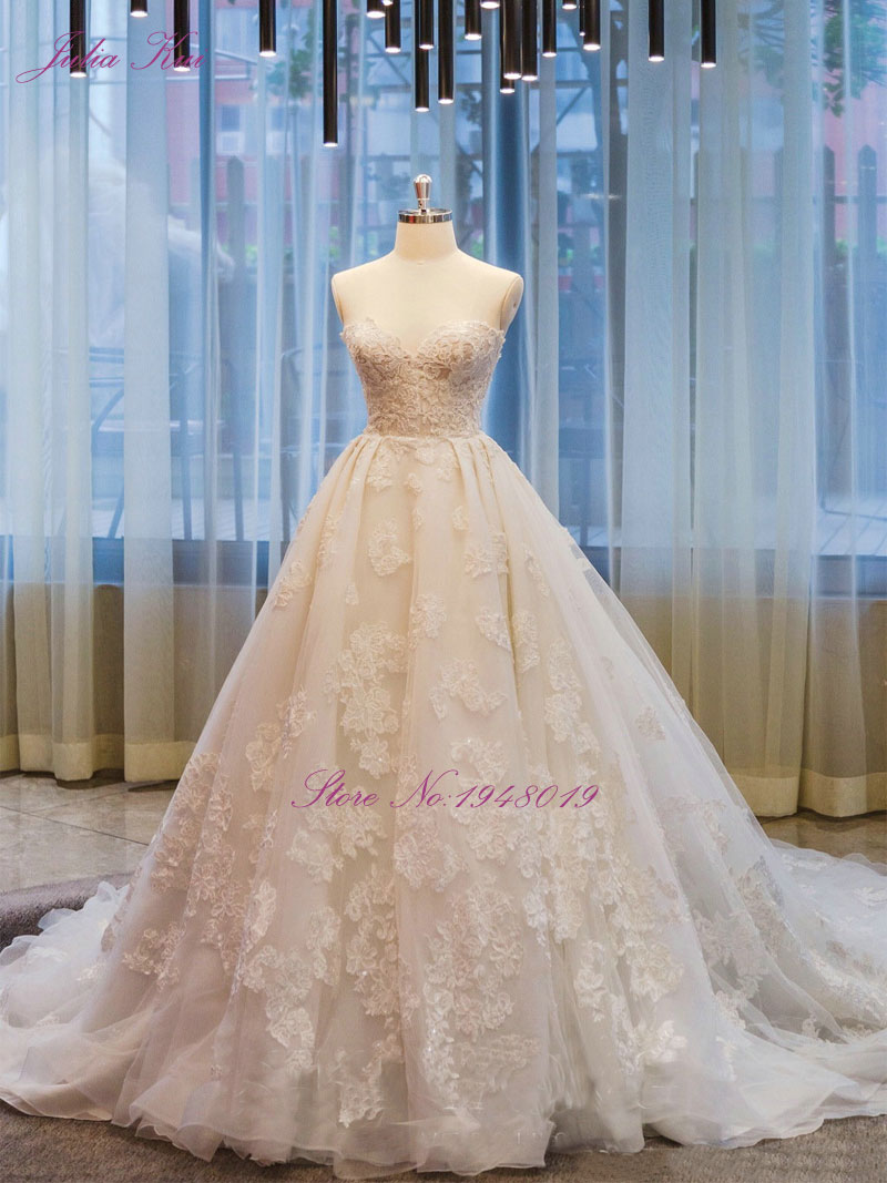 Julia Kui Real Photos Vintage Embroidery Tulle Ball Gown Wedding ...