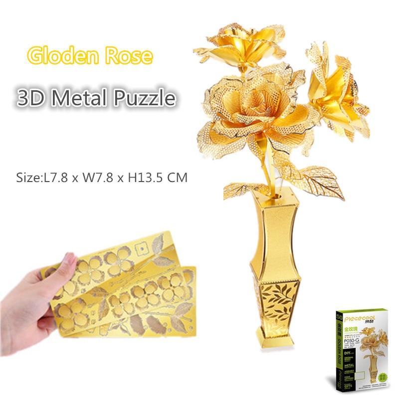 Piececool Gloden Rose 3D Puzzle En Métal Romantique 3D Métallique Découpé Au Laser Modèle Puzzles Miniature 3D Puzzle pour Amant Cadeau Adulte jouets