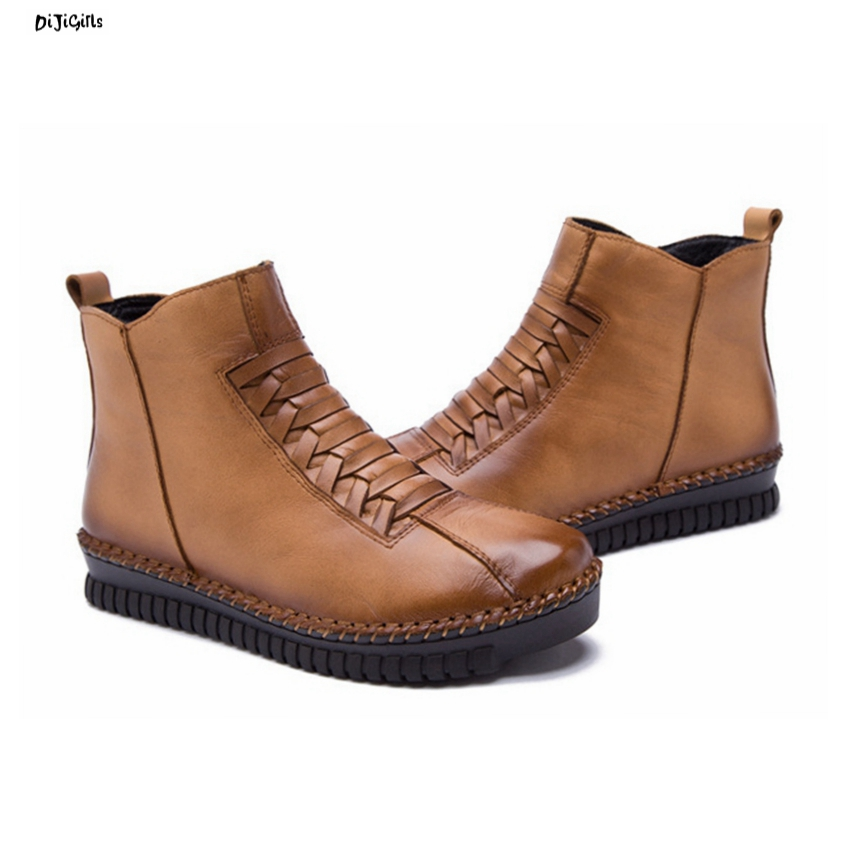 Women Fashion Vintage Handmade Sewing Genuine Leather Ankle Boots Thick Bottom Casual Shoes Booties for Winter Autumn jmg front lace up casual ankle boots autumn vintage brown new booties flat genuine leather suede shoes round toe fall female fashion