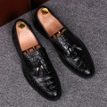 luxury design mens party stage dress soft real leather shoes tassel slip on flat oxfords shoe alligator grain loafer comfortable