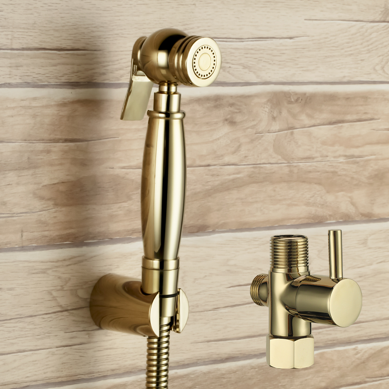 With 7/8*7/8*1/2 T-adapter diverter Golden brass Sprayer hand held toilet gold bidet spray shattaf toilet shower head set-G489 напольные весы supra bss 4060 flower