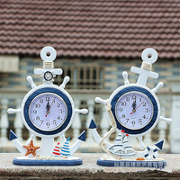 Mediterranean Style Wooden Home decoration accessories Wall Anchor Helmsman Clock Bell Wall Clocks Living Room Wooden Decorative