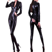 Abbille Bán Buôn New Đen Catwoman Costume Faux Leather Catsuit Sexy Erotic Dài Sleeves Front Zipper Catsuit Nhảy Múa Jumpsuit