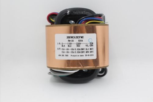 ALONG ZEROZONE 50VA R-core transformer 0-115V-230V To 15V-0-15V 15V-0-15V