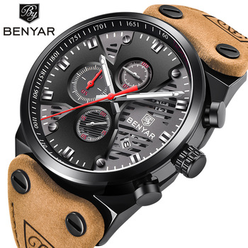 BENYAR Mens Watches Top Brand Luxury Quartz Watch Men Clock Leather Military Waterproof Sport Chronograph Relogio Masculino 2019 naviforce mens watches top brand luxury analog quartz watch men leather chronograph sports military watches relogio masculino