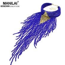 MANILAI Joyería India Hecha A Mano Chunky Gargantilla Collar de Cuentas De La Borla Collares 2016 Nuevo Collar de la Declaración Accesorios de Las Mujeres