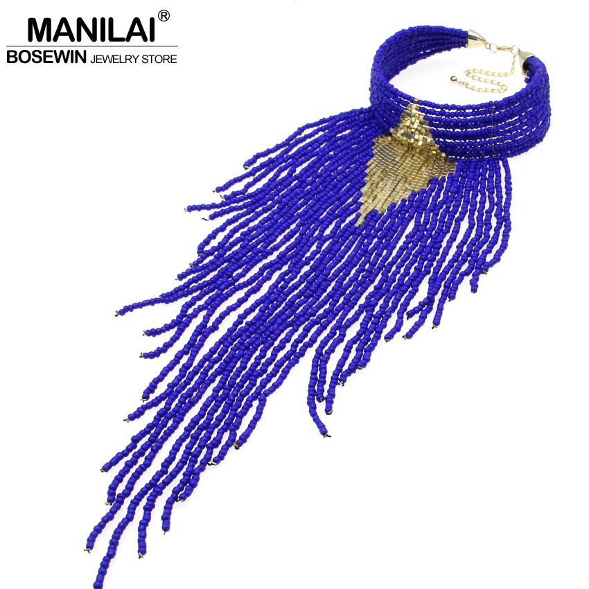 MANILAI Indian Jewelry Handmade Chunky Choker Necklace Long Beaded Tassel Necklaces Statement Collar Women Accessories Big exaggerated enamel flower layered chain big imitation pearl necklace perfume women beaded chunky statement necklace