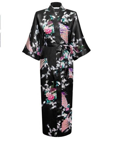 Black Fashion Womens Peacock Long Kimono Bath Robe Nightgown Gown Yukata Bathrobe Sleepwear With Belt S M L XL XXL XXXL