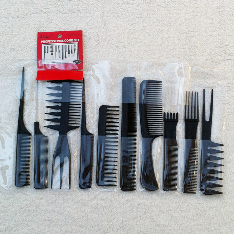 by DHL or EMS 100sets Free Shipping 10Pcs Barbers Brush Comb Set Black Pro Salon Hair Styling Combs tools Hairdressing Plastic
