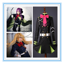 Serafín de finales de owari ningún serafín hiiragi shinoa anime cosplay costume dress + correa + brazalete + guantes + calcetines + corbata + headwear