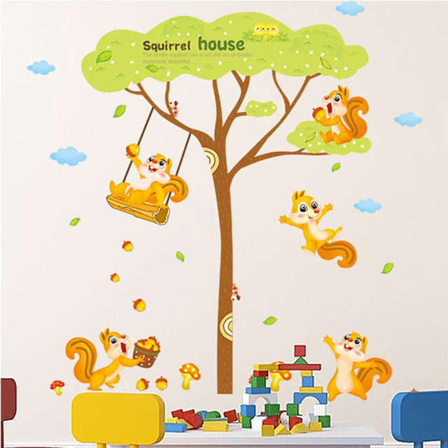 [Fundecor] Squirrel Family Tree Wall Stickers For Kids Rooms Home Decor  Living Room Bedroom Kitchen Children Wall Decal Mural