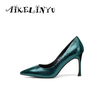 AIKELINYU 2019 Spring Green Genuine Leather High Heel Shoes Women Fashion Sexy Pumps Wedding Gun Color Ladies