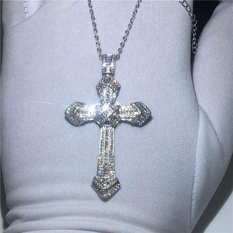 Luxury Big Cross pendant With necklace 925 Sterling silver AAAAA zircon Cz Party wedding Pendants for women men Jewelry
