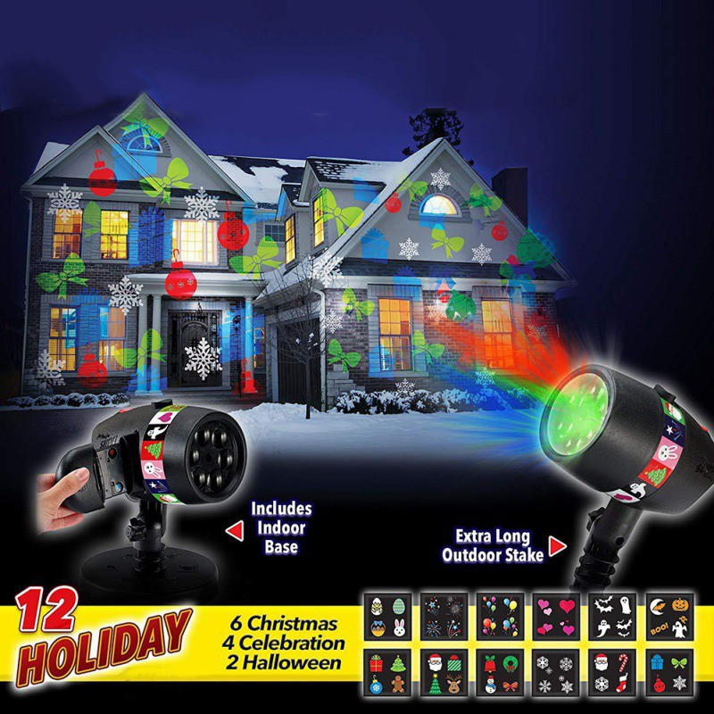 Outdoor slide show landscape lighting christmas halloween - Halloween laser light show ...