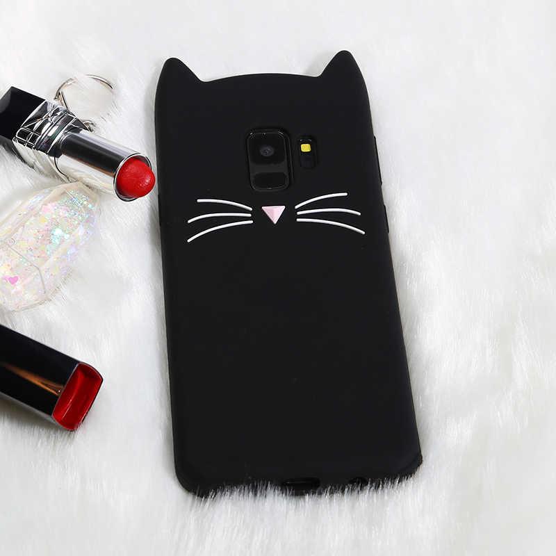 かわいい髭猫サムスンギャラクシー S8 S9 プラス S6 S7 エッジ J3 J5 J7 プロ 2016 2017 3D 耳 TPU 携帯電話カバー