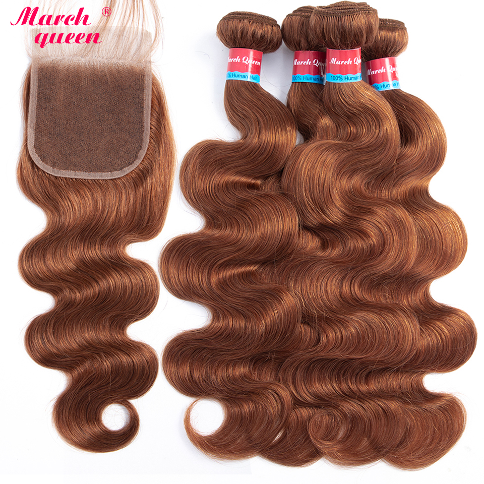 Marchqueen Pre-Colored 4 Bundles Indian Body Wave With Closure #30 Color Human Hair With Closure Non Remy Hair Weave 10