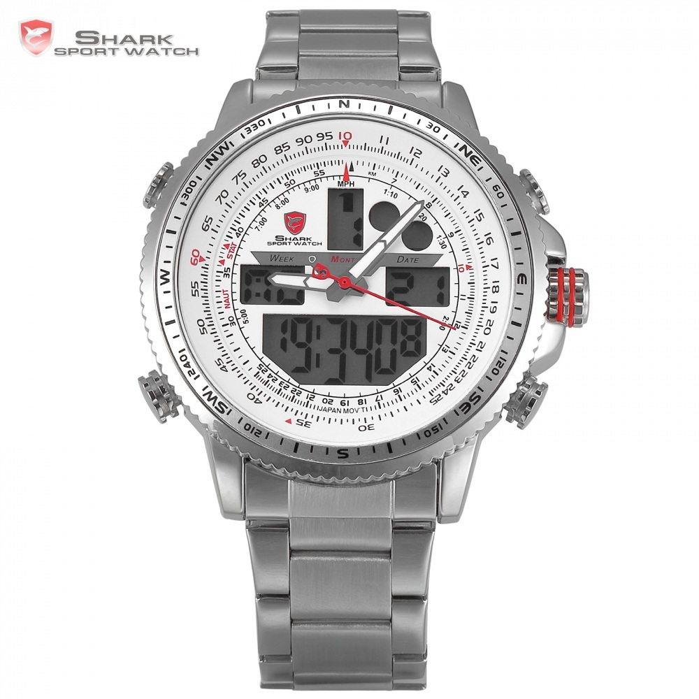 Winghead SHARK Sport Watch Waterproof Luxury LCD Analog Date Alarm Stainless Steel Quartz Running Clock Men Digital Watch/SH329N top brand luxury digital led analog date alarm stainless steel white dial wrist shark sport watch quartz men for gift sh004
