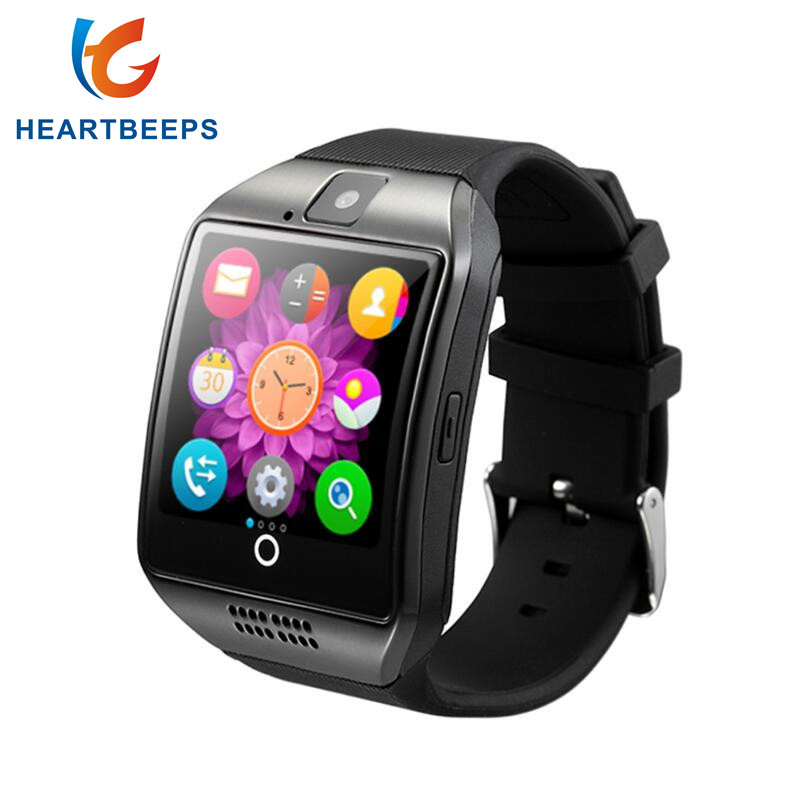 Bluetooth Smart Watch Q18 con cámara Facebook Whatsapp Twitter Sync SMS Smartwatch soporte SIM TF tarjeta para Android