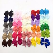 "10pcs/lot 3.2"" Wholesale Grosgrain Ribbon Hair Bows Hair Clips For Women Baby Boutique HairBow/Hairclips Girls' Hair Accessories"