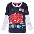 Nova niños 2016 camisetas de los muchachos nuevos diseños de ropa para niños moda apliques de manga larga cottom ropa para niños camisetas boy desgaste