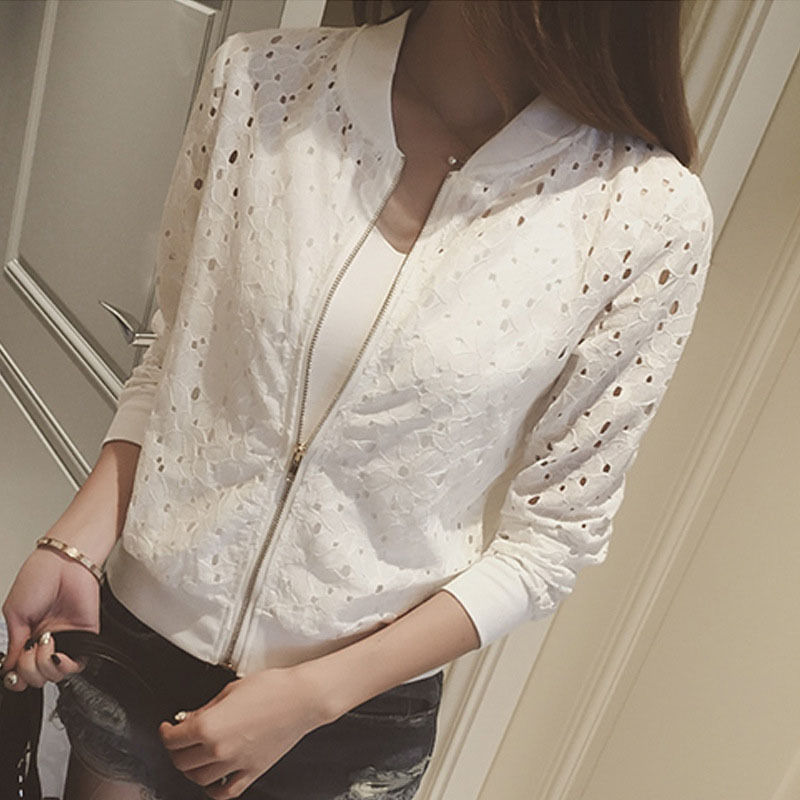 Summer Women Bomber Jacket Lace Sunscreen Shirt Short Thin Baseball Coat