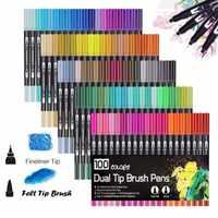 100 Pcs Farben Dual Tip Pinsel Kunst Marker Stifte Großen Feine Liner Pinsel Zeichnung Aquarell Stift für Kugel Journal Manga kalligraphie