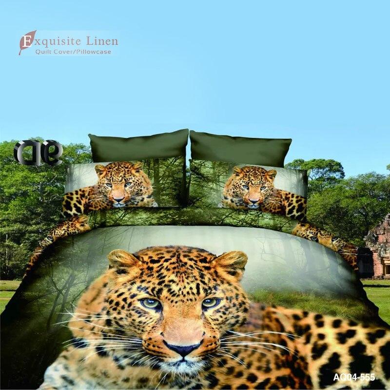 Ensemble de literie en coton mélangé imprimé léopard vert pour housse de couette - 2