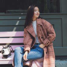 2019 Lady Coat Plaid Double Breasted Oversize Wool Blends Au