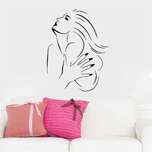 sexy girls manicure nails beauty salon vinyl wall art stickers for window living room home decoration removable diy decals
